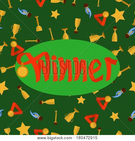 Word winner made with red ribbon with medal on green seamless pattern with cups and medals. Vector. Symbolizes victory, success.