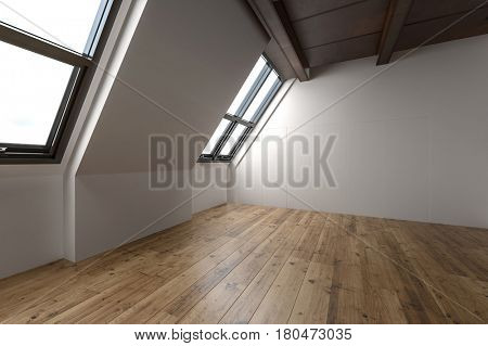 Beautiful large unfurnished attic apartment with hardwood flooring and slanted windows. 3d Rendering.