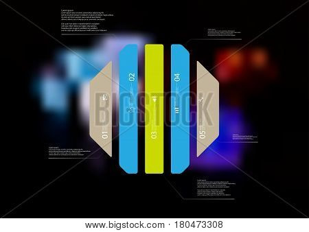 Illustration infographic template with motif of octagon vertically divided to five standalone color sections. Blurred photo with colorful game dices motif on black board is used as background.