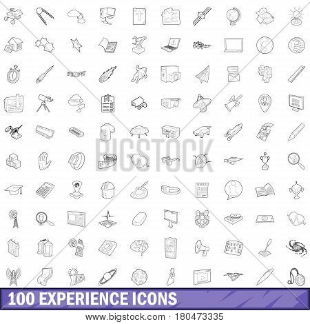 100 experience icons set in outline style for any design vector illustration