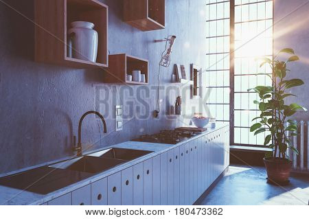 Kitchen scene with various sized wooden shelves and windows with sunlight pouring through. 3d rendering.