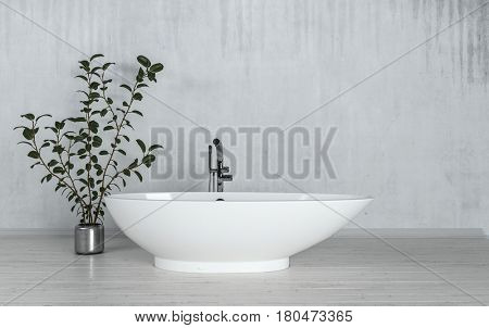 Modern freestanding boat-shaped bathtub with potted plant in a converted loft apartment with grey streaked concrete walls. 3d Rendering.