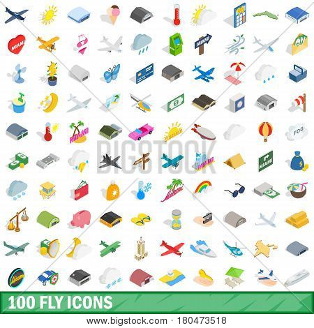 100 fly icons set in isometric 3d style for any design vector illustration