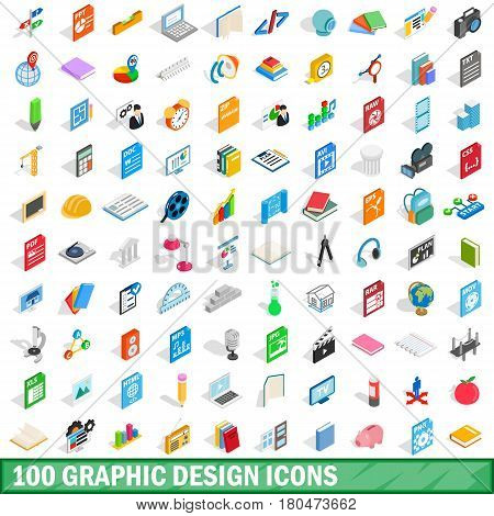 100 graphic design icons set in isometric 3d style for any design vector illustration