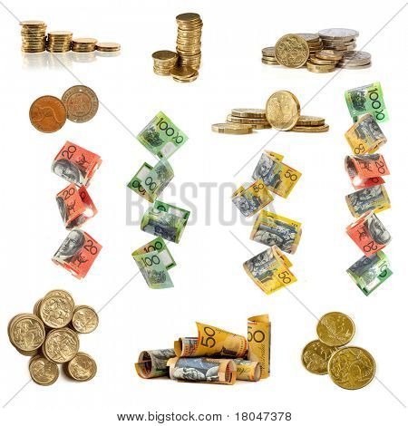 Collection of Australian money images, isolated white.