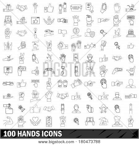 100 hands icons set in outline style for any design vector illustration