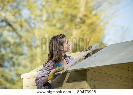 Young woman in check shirt putting a wooden plank on roof of garden shed (hut or summerhouse) a do-it-yourself construction background of trees.