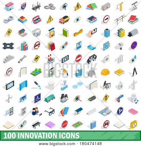 100 innovation icons set in isometric 3d style for any design vector illustration