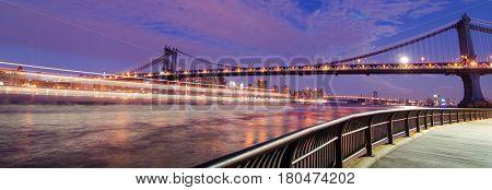 New York City at night - Manhattan Bridge - New York, United States