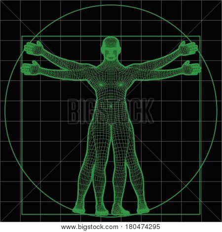 Futuristic Wireframe Vitruvian Man