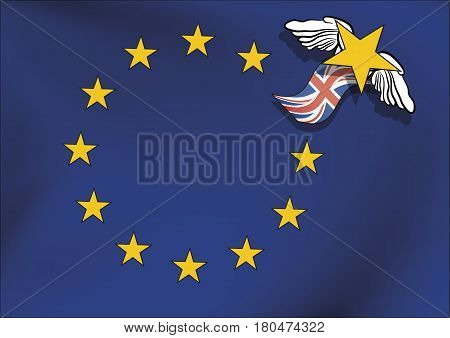 European Union Flag Without One Star After Brexit