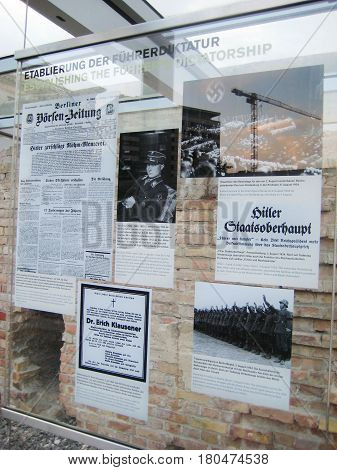 BERLIN, GERMANY - JULY 20, 2016: Outdoor museum Berlin 1933 - 1945 between terror and propaganda. Nazi regime history exhibition, former Gestapo and the SS headquarters in Berlin, Germany