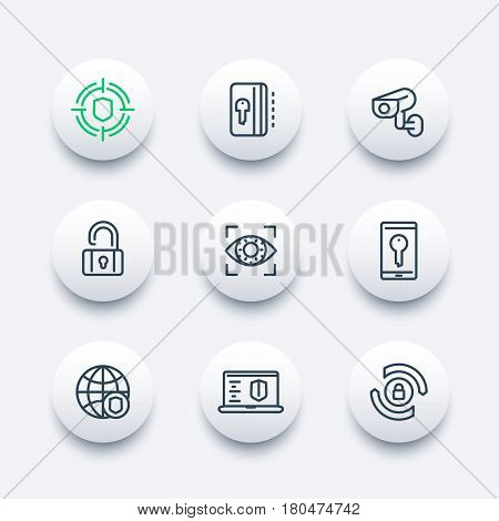 Security and protection line icons set, secure network, key card, privacy, biometric recognition system, cctv camera, firewall