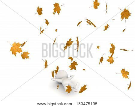 3D Character lying down while autumn leaves flying around him. The leaves are yellow.