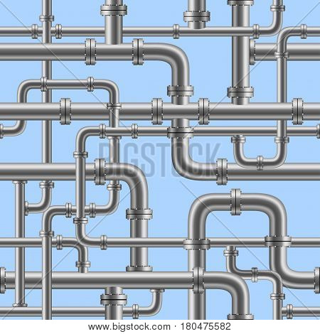 Chrome pipe seamless on blue background. Industry pump water gas oil gasoline diesel fuel supply system. Pipeline project plan. Easy to edit