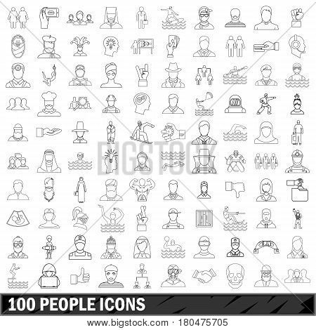 100 people icons set in outline style for any design vector illustration