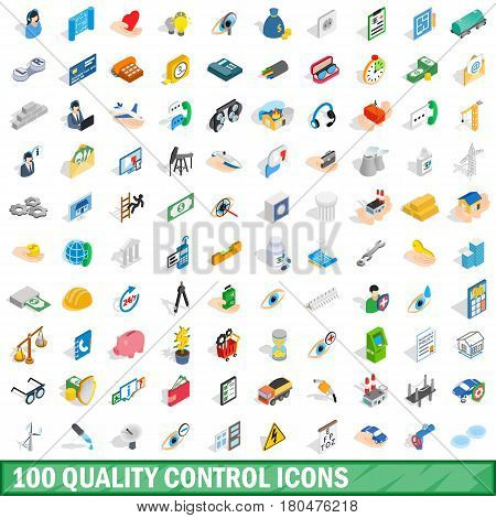 100 quality control icons set in isometric 3d style for any design vector illustration