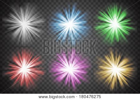 Glowing lights set. Colorful bursts and bright shining stars. Bursting explosions. Transparent graphic design element. Glaring effect with transparency. Abstract glowing light. Vector illustration
