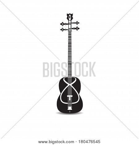 Vector illustration of tar isolated on white background. Black and white azerbaijan string plucked musical instrument.