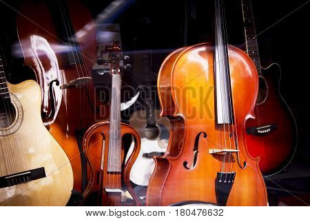 Classical stringed musical instruments. No people. Musicality scene