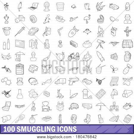 100 smuggling icons set in outline style for any design vector illustration