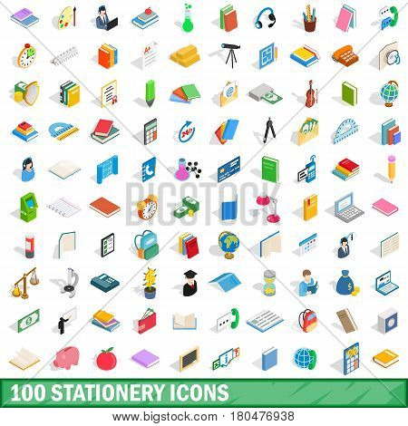 100 stationery icons set in isometric 3d style for any design vector illustration
