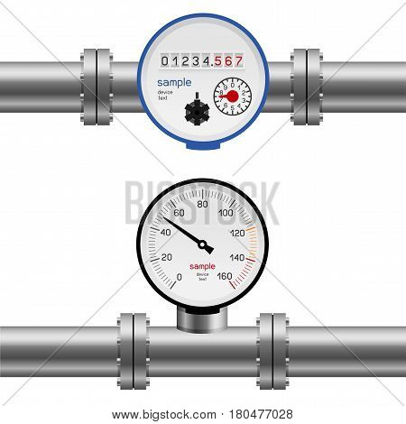 Pressure gauge water in pipe. Pump measure device set collection. Industry meter instrument