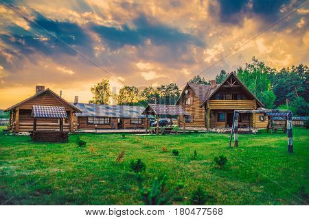 luxury house at sunset in the village