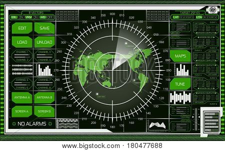 Abstract digital radar screen with world map targets and futuristic user interface of white and green shades on dark background