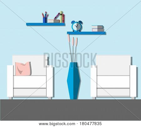 Modern living room interior with furniture: armchairs vase flowers books and alarm clock. Flat style vector illustration.