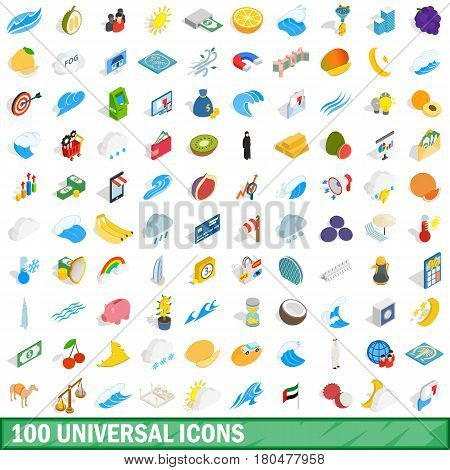 100 universal icons set in isometric 3d style for any design vector illustration