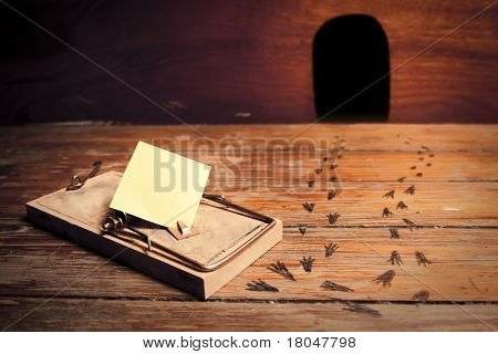 Activated Mousetrap With Empty Message