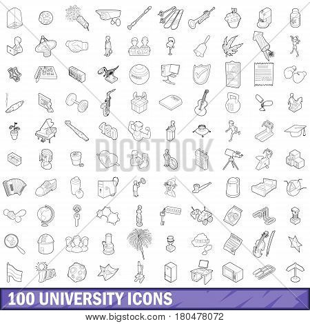 100 university icons set in outline style for any design vector illustration