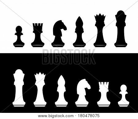 Black and white chess silhouette figures set collection on white and black background. Items for intellectual strategic chessboard game