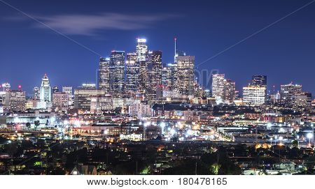 Photo of downtown Cityscape Los Angeles at nigth