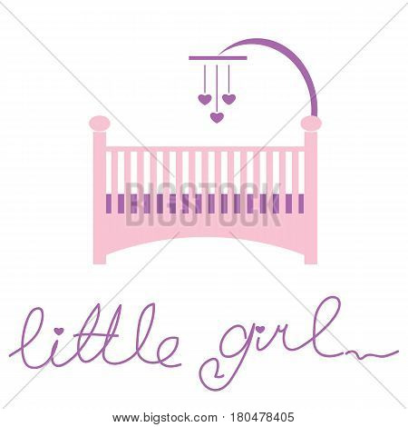 Nursery Little Girl Card with hand drown lettering. Vector illustration.