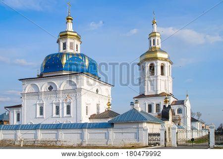Sacred Znamensky temple and Egypt Saint Maria church. Cvyato-Znamensky Abalak man's monastery. Tobolsk district. Russia