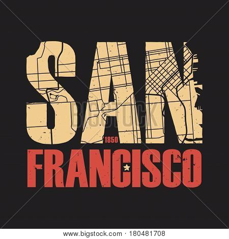 San Francisco tee print. T-shirt design graphics stamp label typography. Vector illustration.