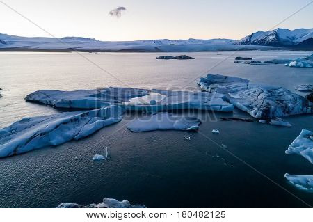 Icebergs Floating In Jokulsarlon Lagoon By The Southern Coast Of Iceland
