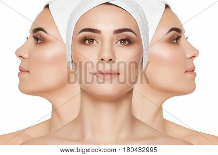 Different views and sides of beautiful brunette woman with cared face and neck skin, make up, wearing in bandage on head. Concept of beauty and healthy skin after cosmetologist. Isolate on white.