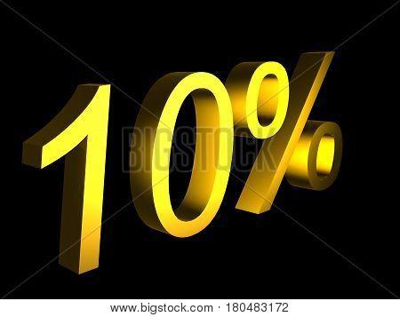 golden ten percent on black background 3d render - sales financial concept