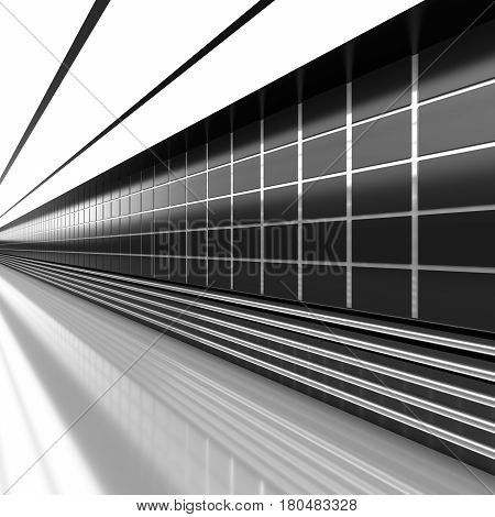 Futuristic black and white architecture background. Abstract architectural interior of the future. 3D rendering.