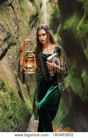 Vertical shot of a beautiful young woman elf with long wavy dark hair standing in mysterious forest holding a lantern nature creature fantasy heroine fairytale magical cautious costume dress concept.
