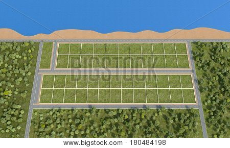 Marking of land on the coast view from above. 3d rendering