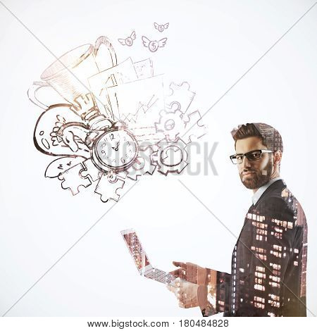 Side view of handsome young businessman using laptop on white background with city view and leadership sketch. Winning concept. Double exposure