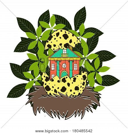 House in a bird's nest. Original vector illustration with a large range of applications