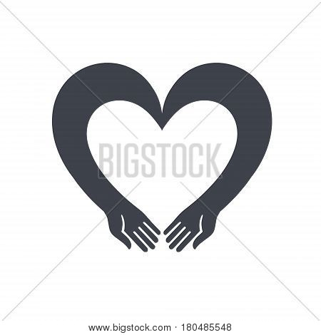 Two hands in the shape of a heart. Original vector illustration icon logo logo multi-use