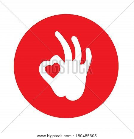 Creative hand and heart shape abstract logo design.Hand Ok symbol icon.Happy Valentines day symbol.Vector illustration. Hand Ok symbol icon.Happy Valentines day symbol.Vector illustration