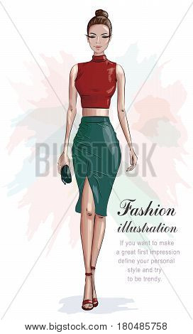 Stylish woman in fashion clothes: red crop top and green skirt. Beautiful fashion woman with hand bag. Sketch. Vector illustration.
