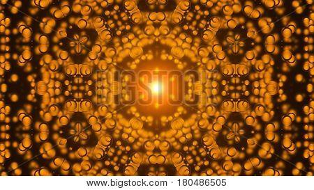 Kaleidoscope abstract orange background. Digital background. 3d rendering